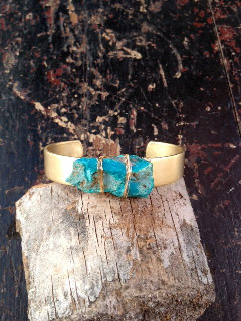 LUX Chrysocolla Gemstone Cuff by luxdivine on Etsy, $40.00