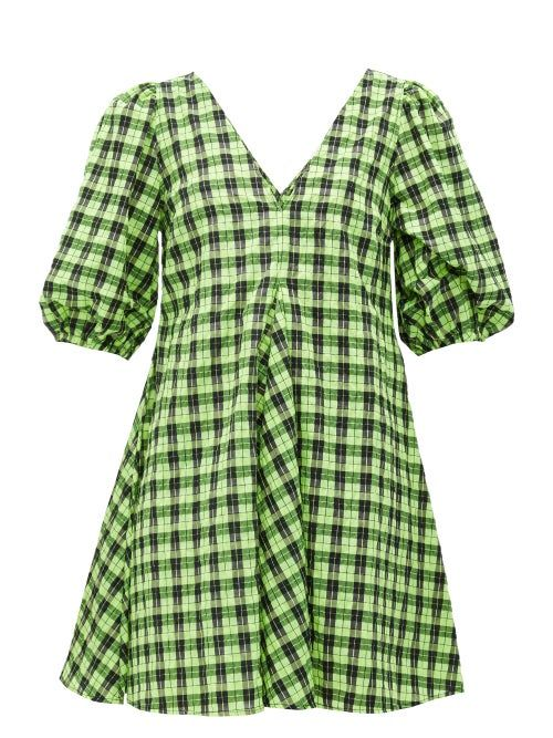 Ganni Checked Cotton Blend Seersucker Mini Dress In Green