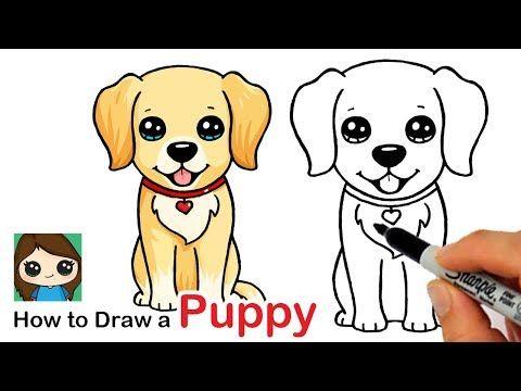 How To Draw A Labrador Golden Retriever Puppy Easy Youtube Puppy Drawing Easy Puppy Drawing Cute Dog Drawing