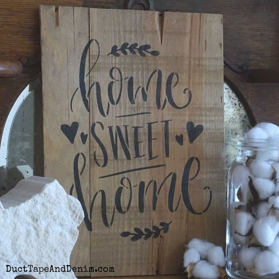 Every home needs a home sweet home sign and this is just about the easiest way you can make your own. Video tutorial included. #homesweethomesign #stencils