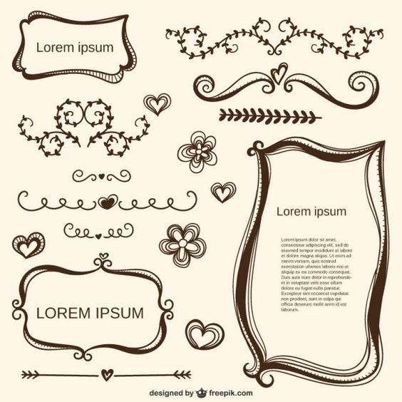 Ornamentos caligráficos amor e quadros Vetor grátis
