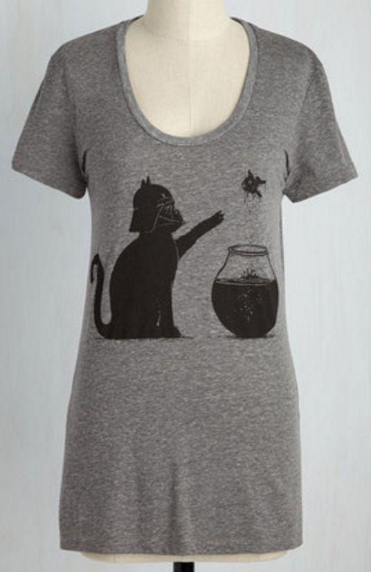 cute cat darth vader t-shirt