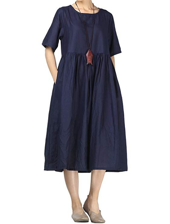 Mordenmiss Womens Linen Dresses Pleated A-line Plus Clothing