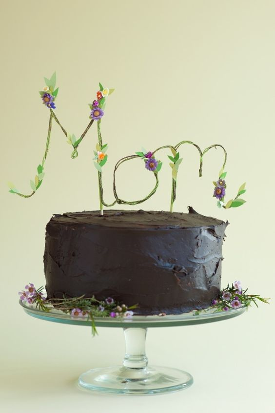 Floral Mom Cake Topper DIY | Oh Happy Day!: Floral Mothers, Happy Day, Mothers Day Ideas, Floral Mom, Floral Cake, Mom Cake, Cake Toppers