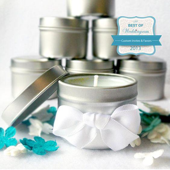 Wedding Favors 50 Mini Scented Candle Tins par FriendlyFireCandles, $175.00