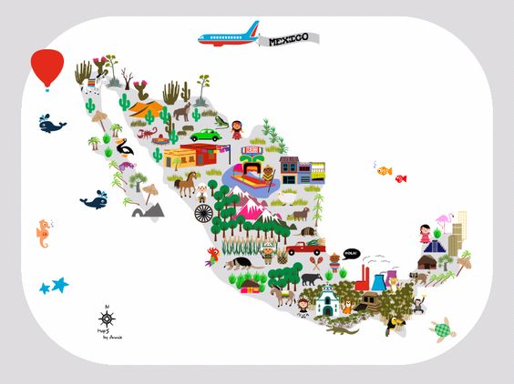 Mexico Map for kids This map will be an eyecatcher on a kidsroom – Map of Mexico for Kids