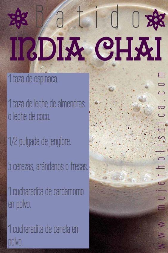El té o chai es una mezcla de especies, concretamente la mezcla de especias como el cardamomo, el clavo, la pimienta, el anís estrellado, el jengibre y la canela.  Nosotras hemos incluido las especies más conocidas dentro del té chai en un batido verde con espinacas y fresas (o cerezas).  Es una mezcla muy particular que estamos seguras que te encantará!  Para más información sobre los beneficios de este batido verde, ve a: http://retobatidos.com/dia-7-batido-india-chai/