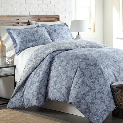 Andover Mills Jovie Perfect Reversible Duvet Cover Set Color Blue