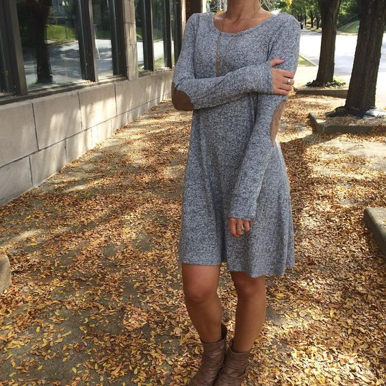 Fall perfection!  this amazing, fully lined sweater dress has the cutest suede elbow patches & fun back cutout! $42.99 #piaceboutique #boutiquefashion #ootd #sweater #dress #love