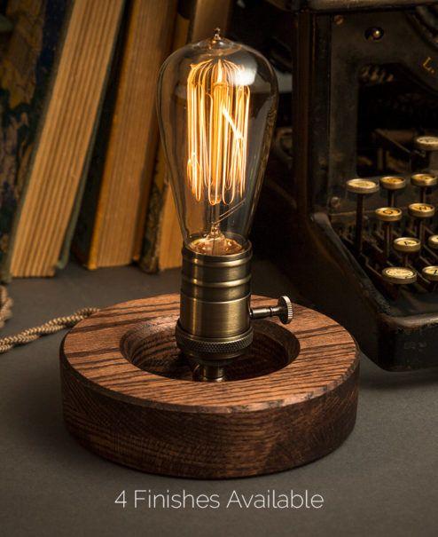 Edison Wood lamp Desk Lamp Steampunk Lamp Personalized Edison wood Lamp Edison Bulbs Industrial Lamp Table Lamp Industrial Lighting