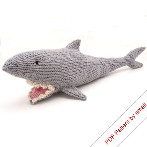 Shark Knitting Pattern. Knit Your Own Jaws. PDF  jane is freaking out! :): Shark Pattern, Shark Knitting, Handknit Shark, Knitted Shark, Knitting Patterns