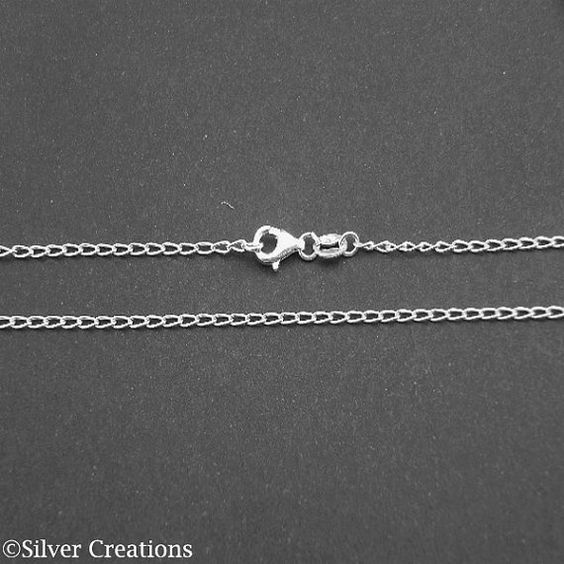 Finished Sterling silver chain necklace choice 16 18 20 22 24 26 28 30 inches - Elegant necklace curb chain,ready to wear,Italian silver 925