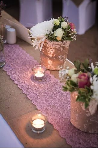 Evening table - Rustic Wedding Décor and Flowers.  From Confettidaydreams.com