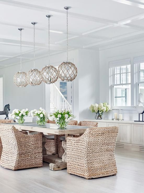Trestle Dining Table with Jute Rope Globe Light Pendants: