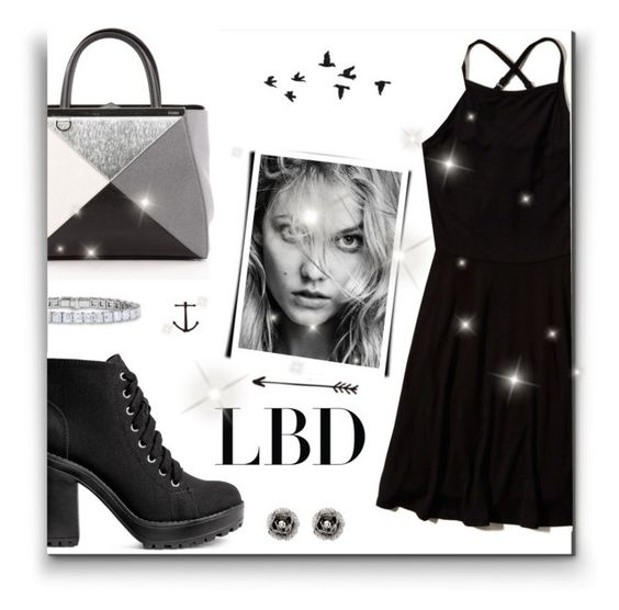 """""""LBD"""" by supersweet206 ❤ liked on Polyvore featuring H&M, Hollister Co., Fendi, Tattify and Betsey Johnson"""