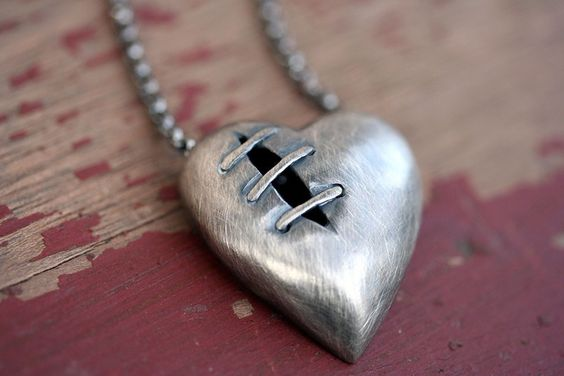 Sutured Heart necklace silver alloy by idlehandsdesigns on Etsy, $75.00