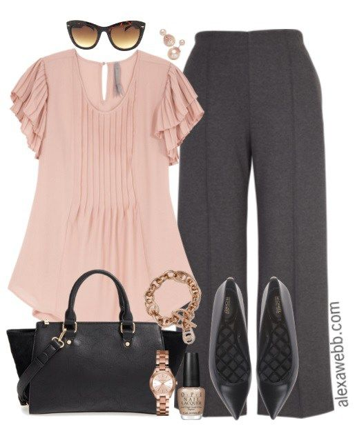 Plus Size Rose Gold Work Outfit: