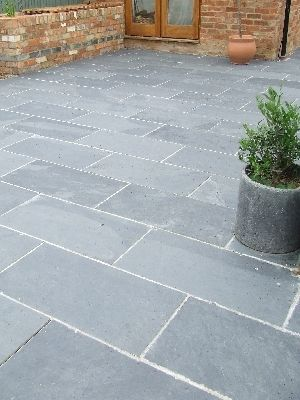 Black grey slate paving patio garden slabs slab tile for Garden decking and slabs