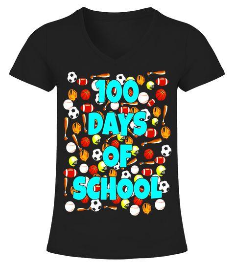 100 Days Of School T Shirt For Kids Or Teachers Sports V Neck T