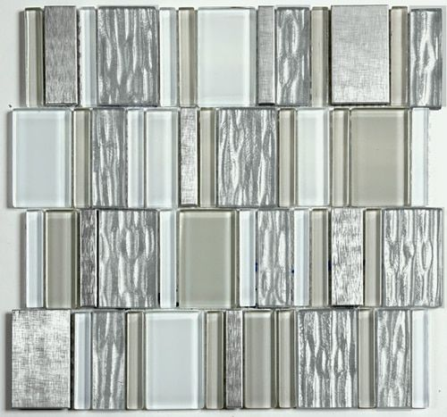 Jewel Glass And Metal Mosaic White Blend 12x12 Mesh Mount Sheet Free Shipping Mosaic Glass Mosaic Backsplash Kitchen Olympia Tile