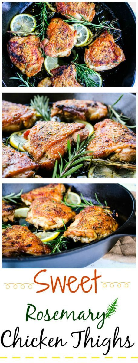 Sweet Rosemary Chicken Thighs |  This recipe turns out best when using the cast iron skillet. @Yum In Your Tum .