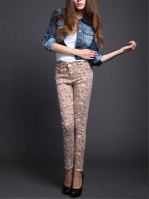 High-waisted floral jeggings