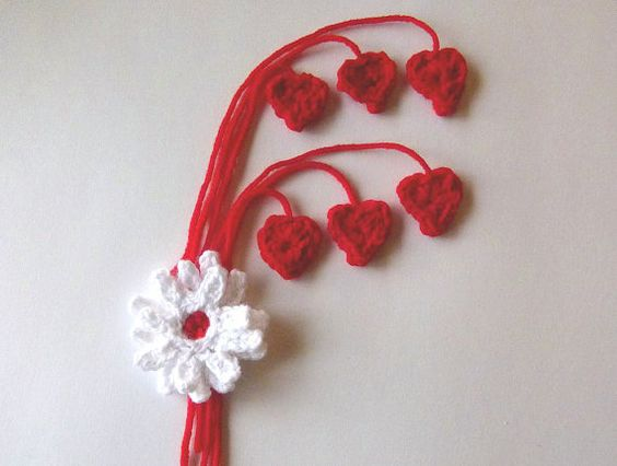 Romantic Mini Crochet Red Hearts for Tags  by LaraineRoseHandiWorx