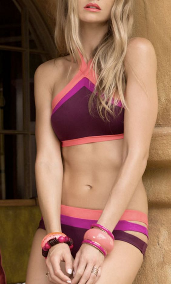 Cute color blocked and layered bikini