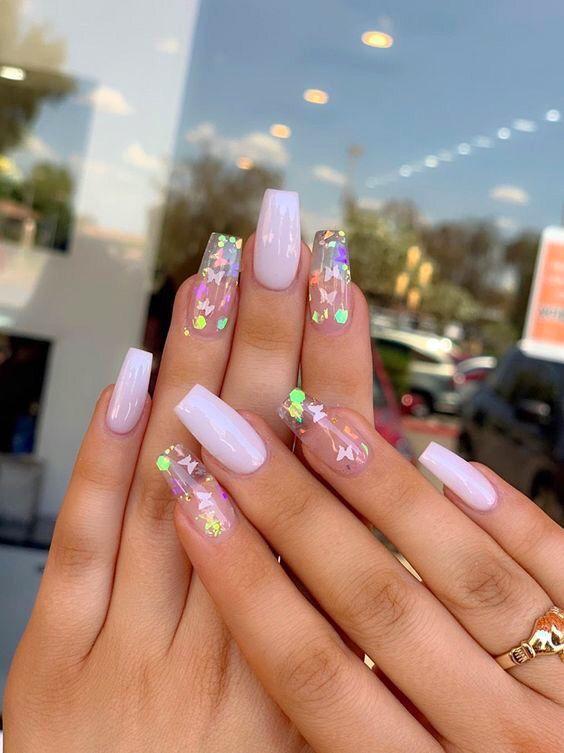 Glittery Butterfly Nails Pretty Acrylic Nails Best Acrylic
