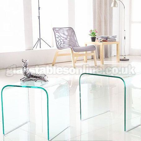 Glass Nest Of 2 Curved Tables