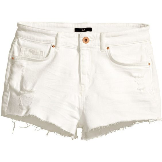 H&ampM Short denim shorts ($11) ❤ liked on Polyvore featuring shorts