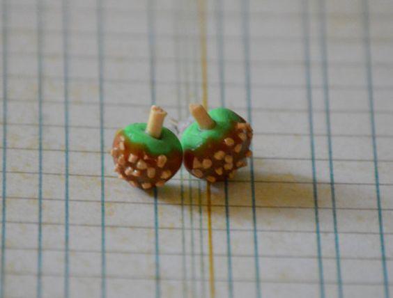 Handmade Polymer Clay Caramel Apple Earrings by wehnerdogcreations