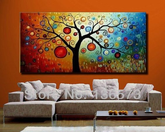 Hand painted modern abstract money tree canvas wall art oil ...