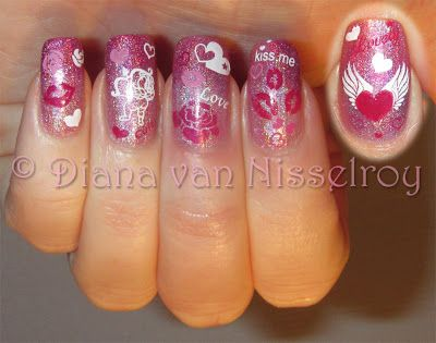 V-day 2013 pink, holo, gradient, love nails ♥