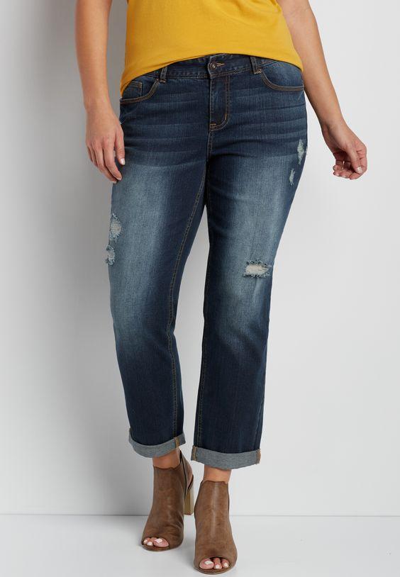 plus size dark wash boyfriend jeans with destruction (original ...