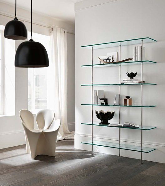 Tonelli Trasparenza Glass Bookcase Living Room Furniture Ultra Modern Glass Bookcase Glass Shelves Shelves