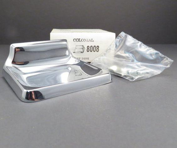 mid century chrome soap dish vintage miami carey bathroom accessories nos industrial salvage retro bathroom decor