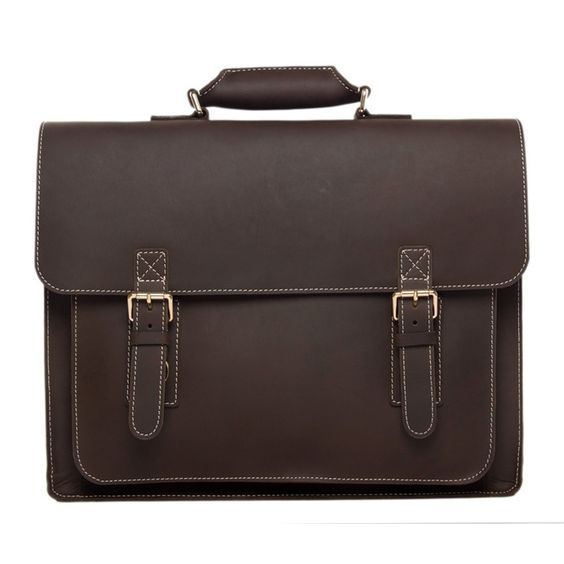 Handcrafted 18'' Large Leather Briefcase, Laptop Shoulder Bag, Men's Handbag 7205-L
