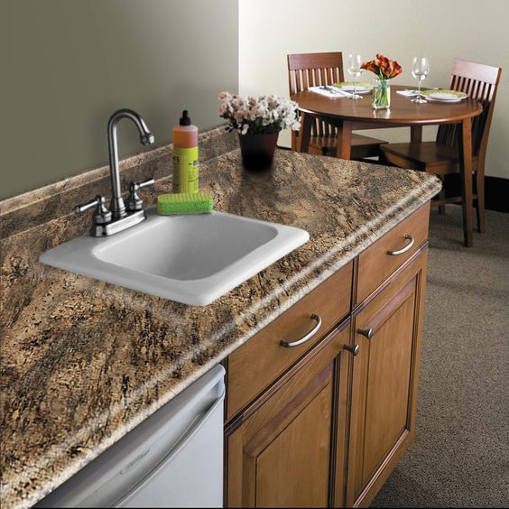 Kitchen Laminate Countertops: VT Dimensions Formica 6-ft Lapidus Brown FX Radiance Miter