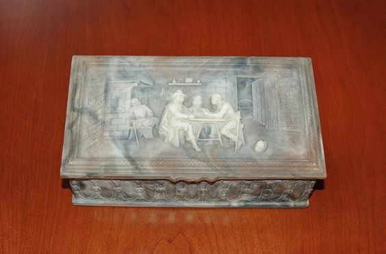 Vintage INCOLAY Stone Tavern Scene Men's Valet Box, Bas Relief Faux Marble, Cameo Trinket Box, Jewelry Box, Funny Drinking Scene - SOLD!