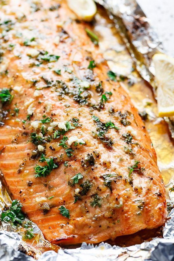 Honey Garlic Butter Salmon In Foil Recipe | //cafedelites.com | Recipes | Pinterest | Garlic butter Salmon and Garlic  sc 1 st  Pinterest & Honey Garlic Butter Salmon In Foil Recipe | http://cafedelites.com ...