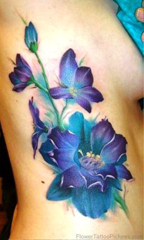 Larkspur Tattoo Purple Flower Tattoos Larkspur Tattoo Birth Flower Tattoos