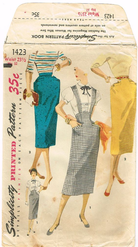 original 1950 s high waisted slim skirt pattern with kick
