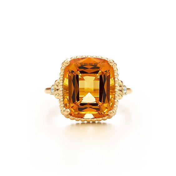 Tiffany & Co. -  Tiffany® Sparklers Citrinring aus 18 kt.Gold mit Diamanten.