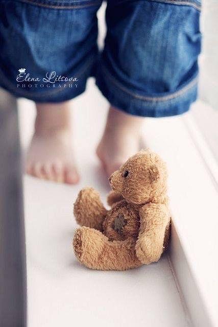 #blue denim + #brown teddy bear