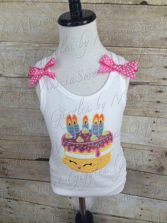 Embroidered BIRTHDAY CAKE SHOPKINS by SweetGigglesbyMarcia on Etsy