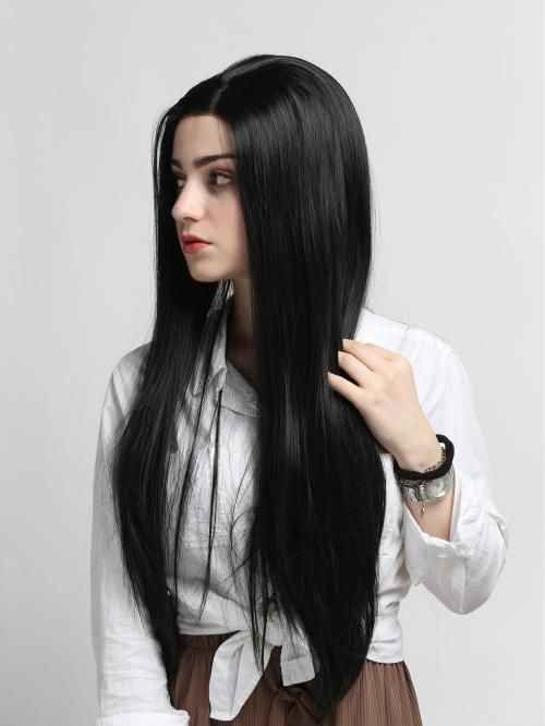 Long Straight Black Synthetic Lace Front Wig Synthetic Lace