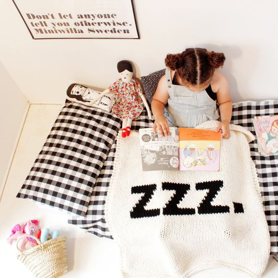 "Yarning Made Knit Bassinet Blanket - ""zzz"" - Burrow"
