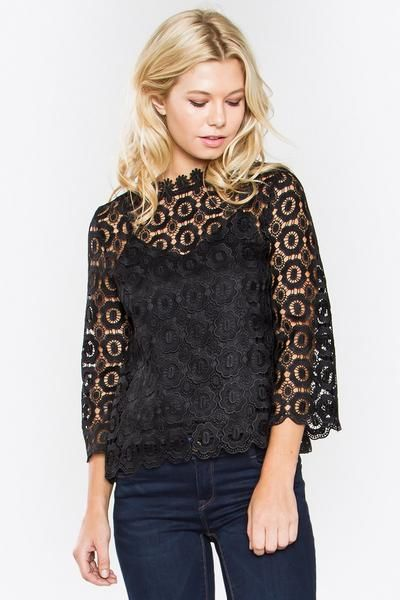 Crochet mock neck top - Neck lace trim - See-through detail with tank slip lining - Bell sleeve - Scallop hem - Hook & eye closure on back -