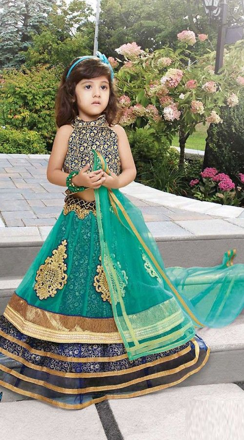 Dazzling Sea Green Net Princess Lehenga Choli With Dupatta MZ7277301 Outstanding sea green net kids girl lehenga choli which is stylishly made with butta, resham and lace work. This outfit comes with matching dupatta. This dress has sizes available from 24 to 32